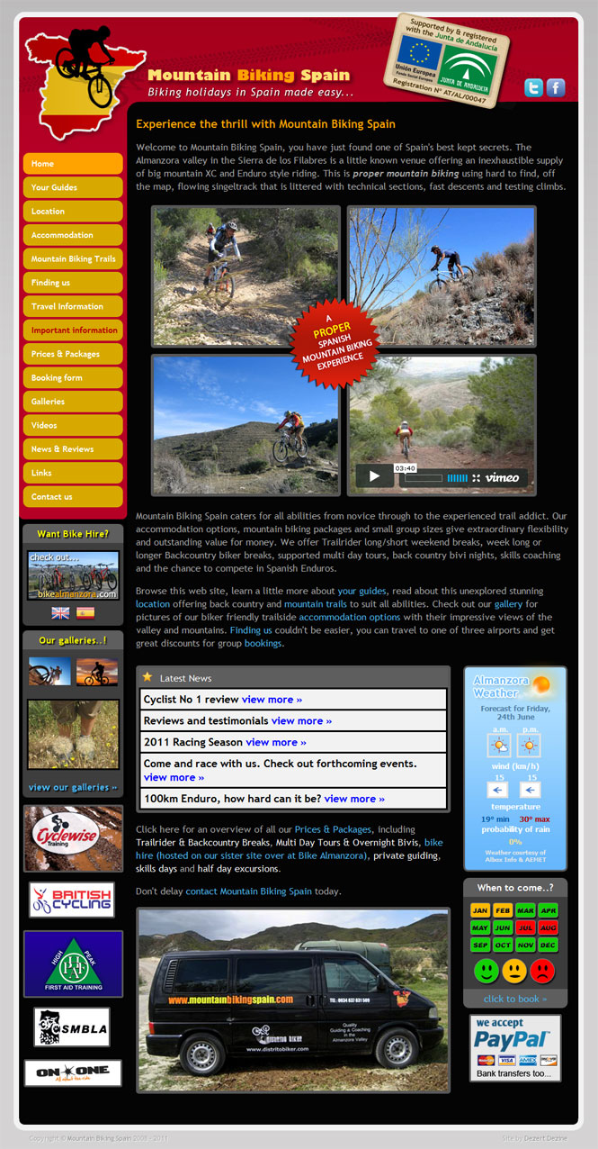 Mountain Biking Spain - website