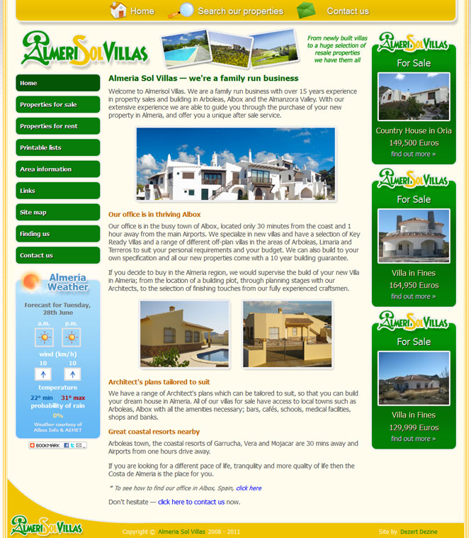 Almeri-Sol-Villas website