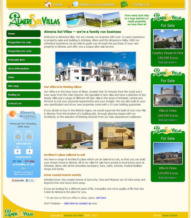 Almeri-Sol-Villas website