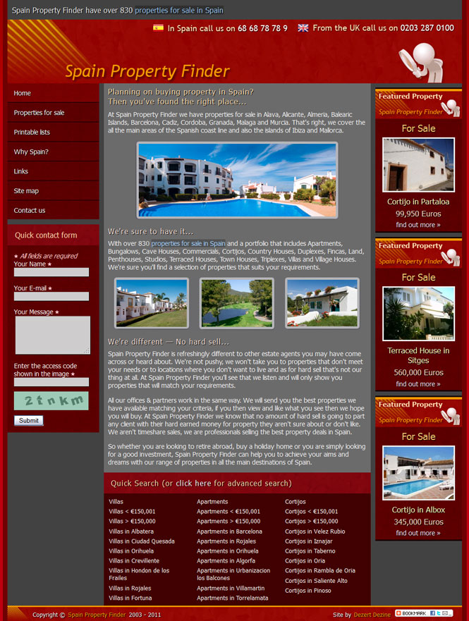 Spain Property Finder website