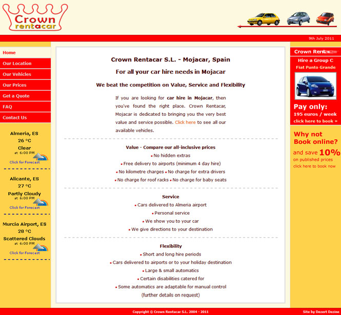 Crown Rent-a-car website