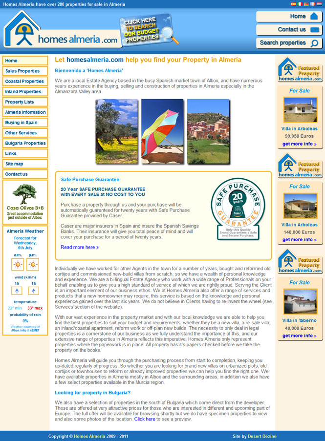Homes Almeria website