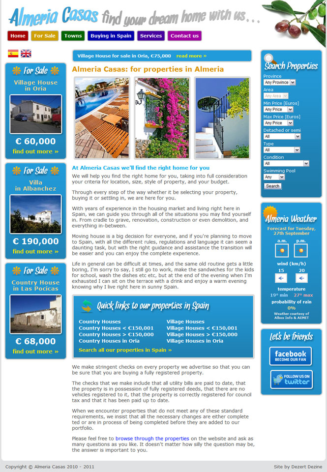 Almeria Casas - Website screen shot