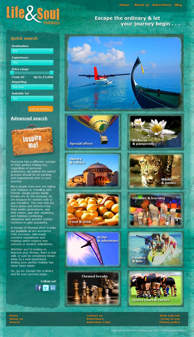 Life and Soul Holidays website